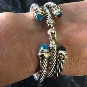 David Yurman blue topaz and gold cable bracelet
